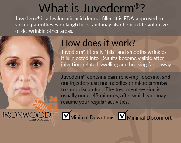 Juvederm treatments at our Tucson, AZ, practice can soften laugh lines and other wrinkles.